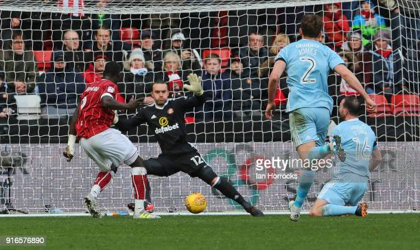 Famara Diedhiou of Bristol scores the third goal during the Sky Bet Championship match between Bristol City and Sunderland at Ashton Gate on February...