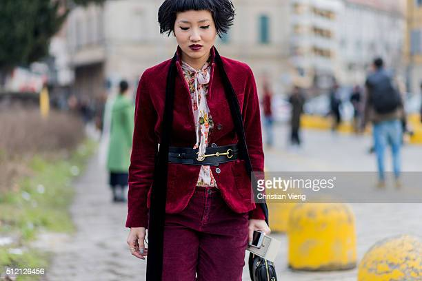 Fame Boonyasit seen outside Gucci during Milan Fashion Week Fall/Winter 2016/17 on February 24 2016 in Milan Italy