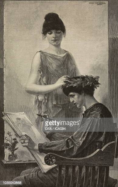 Fame Crowning Art engraving after a painting by George von Hoesslin from The Illustrated London News volume 97 No 2690 November 8 1890