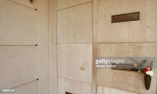 Famed actress Marilyn Monroe's crypt lies in the Corridor of Memories Mausoleum at Westwood Village Memorial Park cemetery just below the body of...