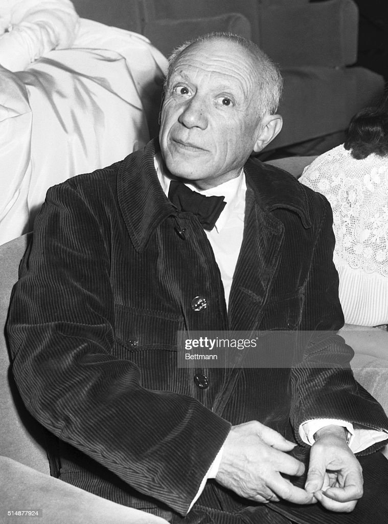 Famed artist Pablo Picasso appears at the Cannes Film Festival opening night for the showing of Le Salaire de la Peur. Picasso caused a mild sensation by wearing a dress shirt, tie, and a corduroy hunting jacket to the black tie affair.