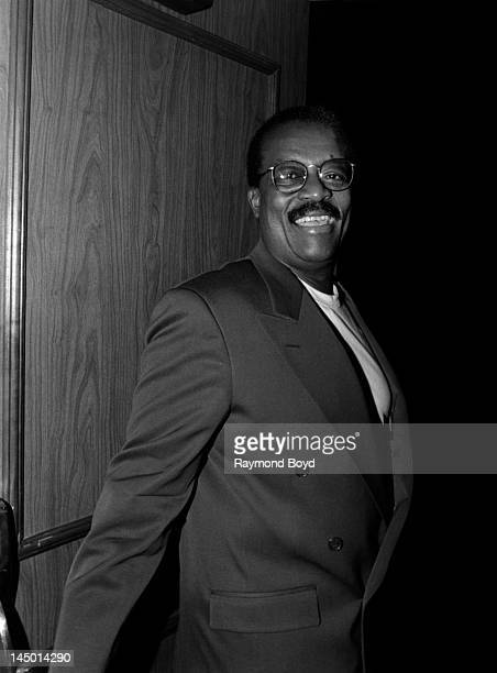 Famed attorney Johnnie Cochran poses for photos at the Sheraton Grande Hotel in Los Angeles California in JANUARY 1994