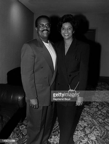 Famed attorney Johnnie Cochran poses for photos with his wife Dale Cochran at the Sheraton Grande Hotel in Los Angeles California in JANUARY 1994