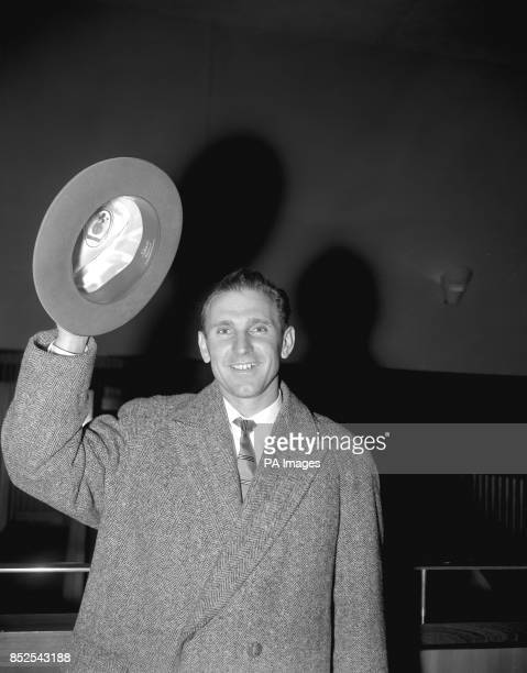Famed centreforward Nandor Hidegkuti on arrival at London Airport from Brussels with the Hungarian football team MTK Hungary formerly known as Red...