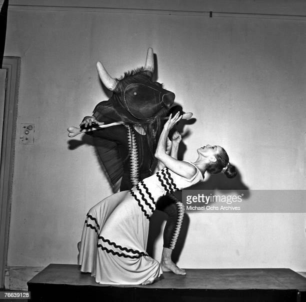 Famed dancer/choreographer Martha Graham rehearses her 'Errand of the Maze' dance with an unnamed male dancer on December 30 in New York New York...