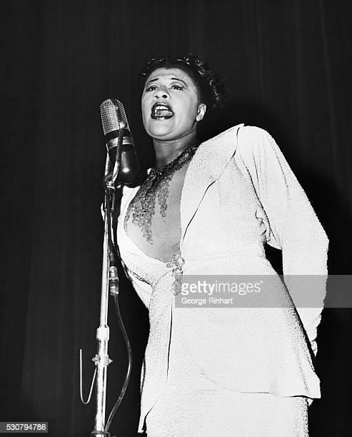 Famed jazz vocalist Ella Fitzgerald singing on stage in the 1940's