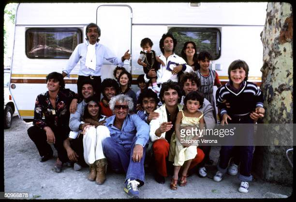 Famed Psychologist and Author of The Primal Scream Dr Arthur Janov poses with the Musical Group The Gipsy Kings and their children at their caravan...