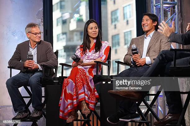Famed Writer and mountaineer Jon Krakauer CoDirector Elizabeth Chai Vasarhelyi and Jimmy Chin attend AOL BUILD Presents MERU at AOL Studios In New...