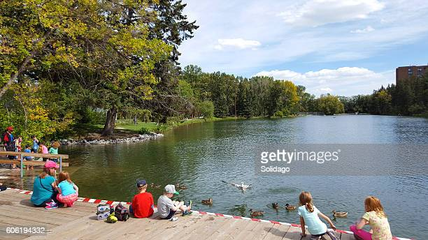 Families And Kids Enjoying Waterside Nature