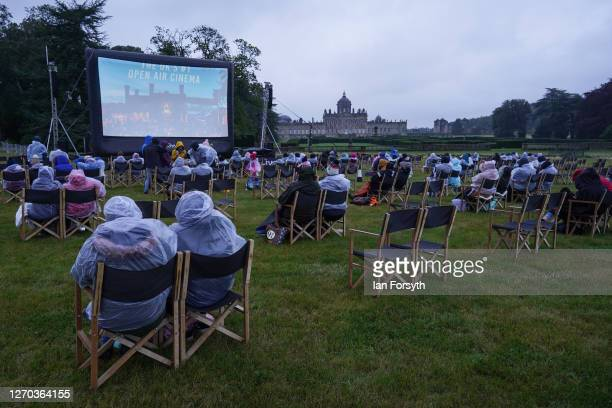 Families attend a screening of The Greatest Showman during the Luna Cinema movie experience at Castle Howard on September 02, 2020 near Malton,...