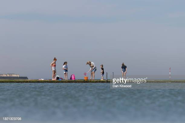Families catch crabs in the tidal pool on June 02, 2021 in Margate, England. The start of meteorological summer was met with high temperatures across...