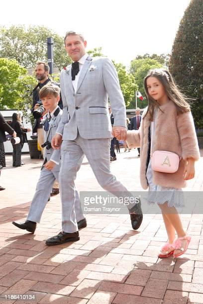 Families come through the gates during 2019 Stakes Day at Flemington Racecourse on November 09 2019 in Melbourne Australia