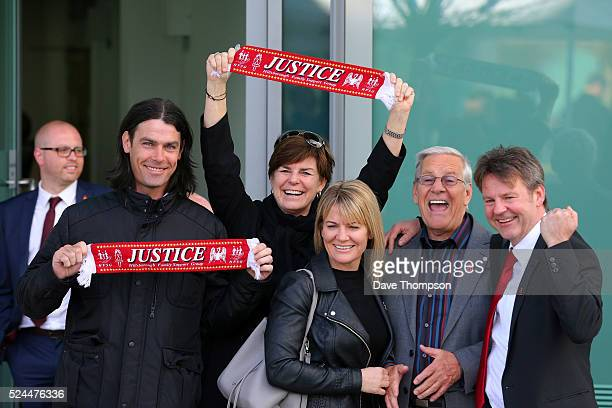Families depart Birchwood Park following the final verdict of the Hillsborough inquest on April 26 2016 in Warrington England The fresh inquests into...