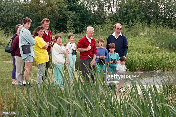 Families enjoy bird watching at Billingham Beck Country Park. 30th May 1994.