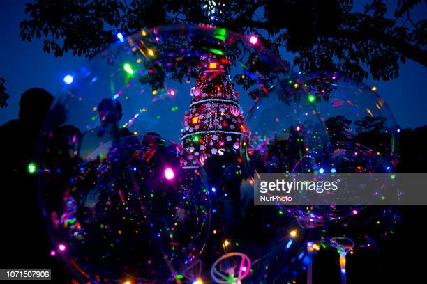 Families enjoy the Christmas tree in the Ibirapuera Park in Sao Paulo, Brazil, on 10 december 2018. A tourist attraction at the end of the year in...
