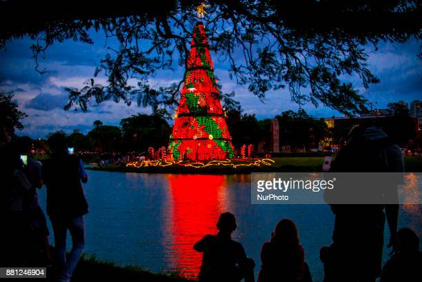 Families enjoy the Christmas tree in the Ibirapuera Park in Sao Paulo Brazil on 28 November 2018 A tourist attraction at the end of the year in São...