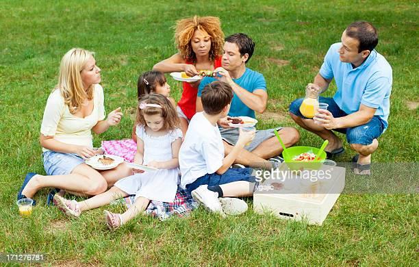 Families enjoying eating at picnic.