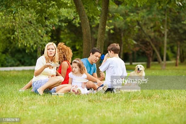 families enjoying eating at picnic. - dog eats out girl stock photos and pictures
