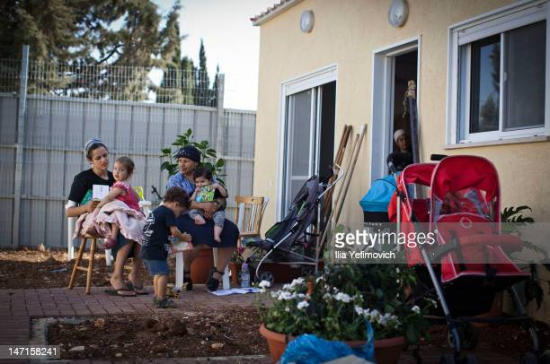 Families evicted from the Ulpana neighbourhood move into temporarily housing in the nearby settlement of Beit El on June 26 2012 in Beit El West Bank...