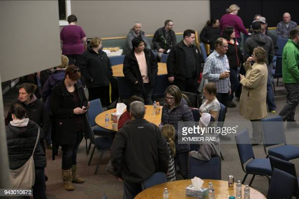 Families friends and supporters of the Humboldt hockey team gathered in Nipawin's Apostolic Church as they wait for news of loved ones on April 6...