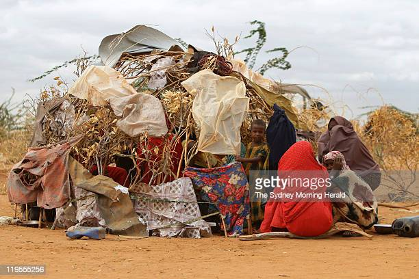 Families have erected tents on the outskirts of Dadaab refugee camps near the Somalian border on July 13 2011 in Dadaab Kenya The first consignment...