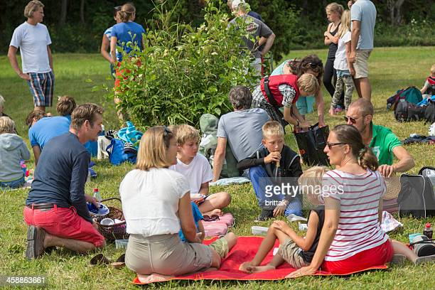 Families having picnic on the grass in Stockholm Archipelago, Sweden