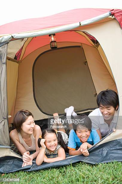 Families Lying in Tent