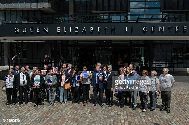Families of soldiers killed in the Iraq conflict speak to the media outside the Queen Elizabeth II conference centre after the outcome of the Chilcot...