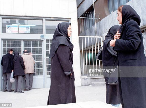 Families of those arrested at new year's parties wait outside the Tehran Guidance Judicial Complex January 3 2001 in Tehran Iran Police arrested and...
