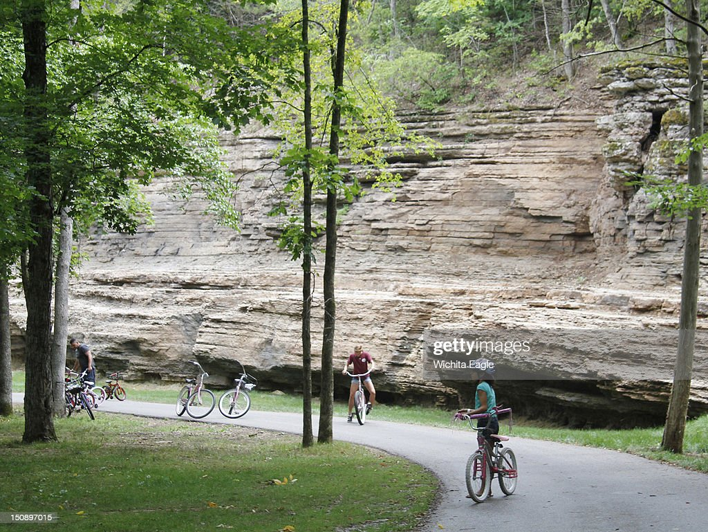Families On Bicycles Are Common Sites At Dogwood Canyon In Lampe, Missouri.