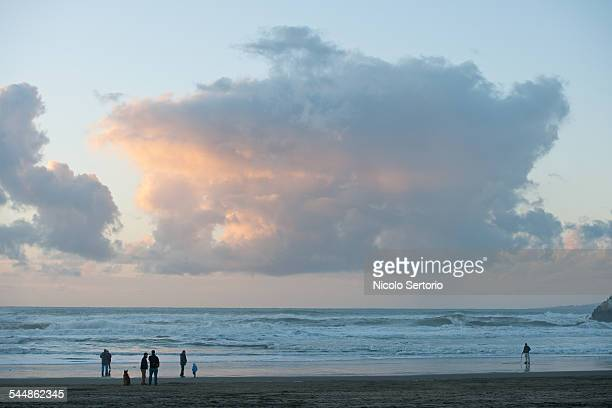 Families on the beach with large clouds