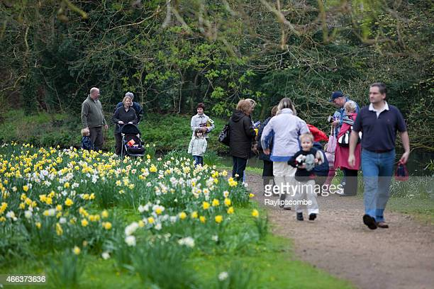 Families out on an Easter Day egg hunt