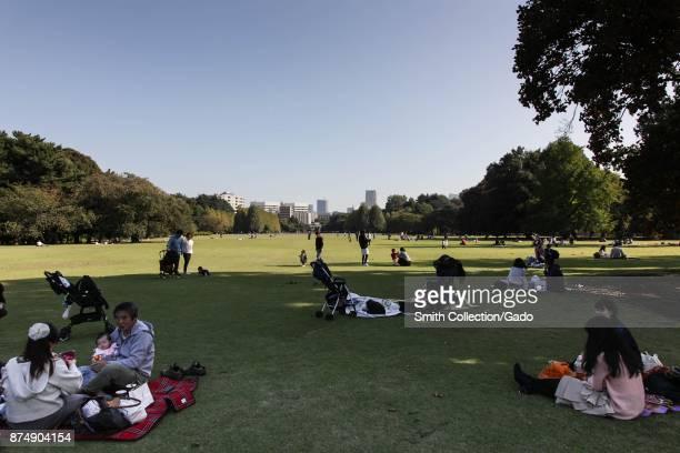 Families picnic at Shinjuku Gyoen National Garden a public park spanning the Shinjuku ward and Shibuya ward of Tokyo Japan October 27 2017