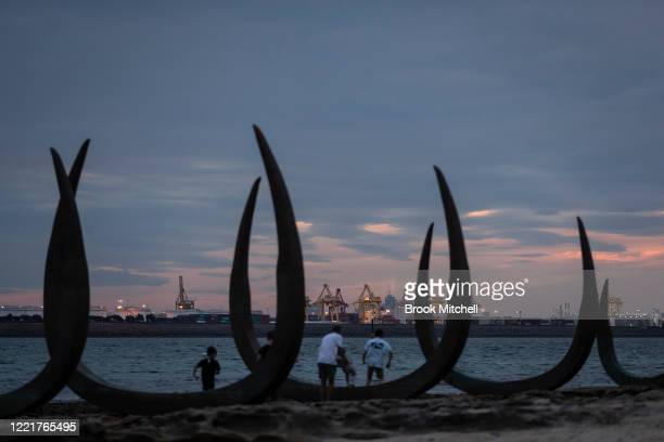 Families play at a new installation at the site Lieutenant James Cook is believed to have stepped ashore on April 29 2020 in Sydney Australia Today...