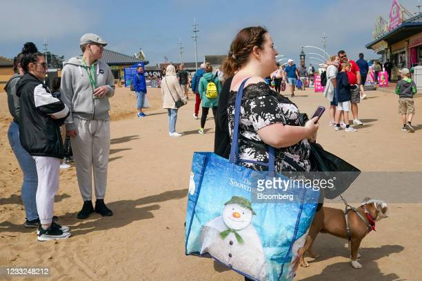 Families spend the day at the beach in Skegness, U.K., on Monday, May 31, 2021 .U.K. Health SecretaryMatt Hancocksaid people who want to go...