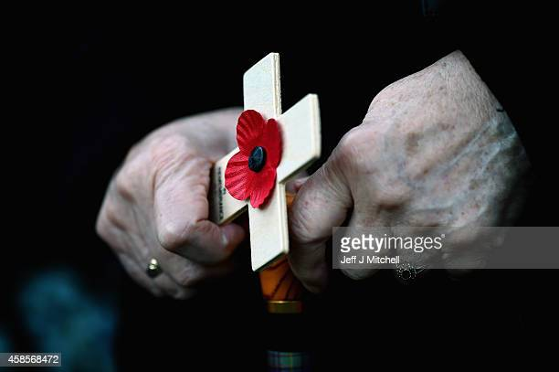 Families veterans and soldiers from The Black Watch 3rd Battalion the royal Regiment of Scotland attend a memorial service at the Black Watch Museum...