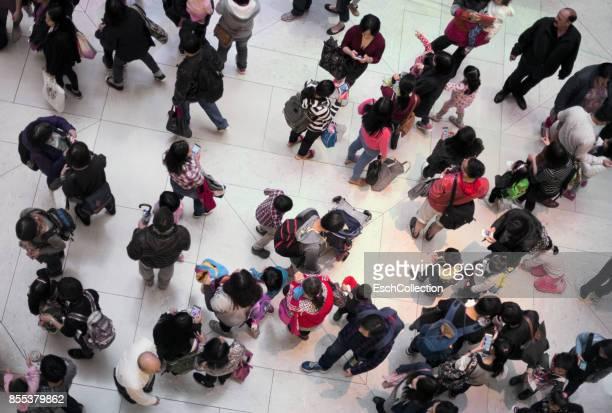 Families visiting mall at saturday afternoon, Hong Kong