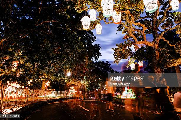 Families walk through the Auckland Domain during the Auckland Lantern Festival on February 18 2016 in Auckland New Zealand In it's 17th year and for...