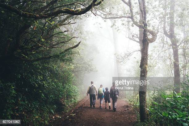 Familiy Hiking On Madeira Island