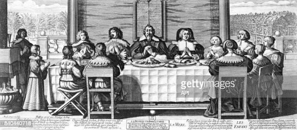 Famille faisant le bénédicité avant le repas gravure réalisée Abraham Bosse au XVIIè siècle