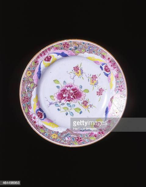 Famille rose plate with peony and floral sprays Qing dynasty China 17501799 Plate decorated in the centre with a large single peony and four small...