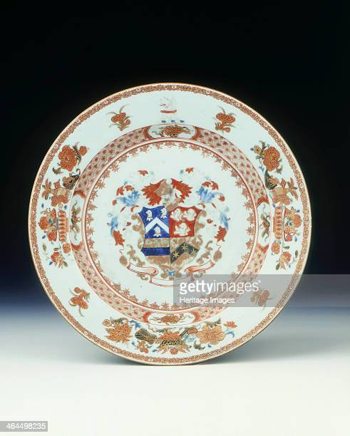 Famille rose plate with the arms of Alexander Qing dynasty Jiangxi province China c1726 Plate with gold and rouge de fer enamels and concentric bands...