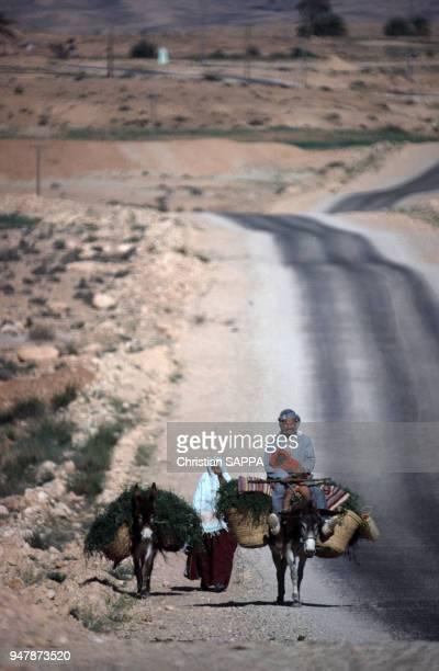 Famille sur une route près de Médenine en avril 1988 Tunisie