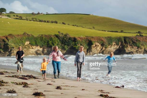 family adventures at the beach - five people stock pictures, royalty-free photos & images