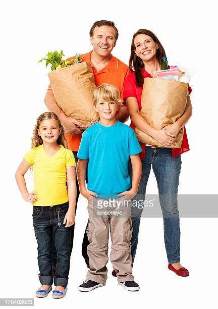 Family After Grocery Shopping - Isolated