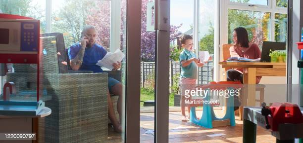 family all working from home and homeschooling - working stock pictures, royalty-free photos & images