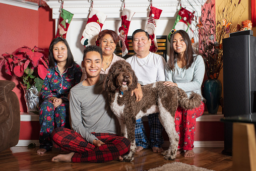 Family and dog sitting together in home decorated for Christmas - gettyimageskorea