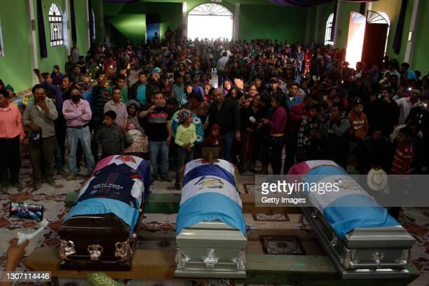Family and friends accompany the bodies of Ivan Gudiel Pablo Tomas, Santa Cristina Garcia Perez, Rivaldo Danilo Jimenez, Ivan Gudiel Pablo Tomas and...