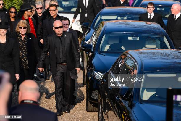 Family and friends arrive in the procession at the funeral of Keith Flint at St Mary's Church on March 29 2019 in Braintree England Keith Flint was...