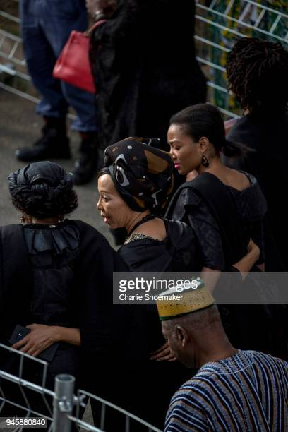 Family and friends arrive to the house of Winnie Mandela before her body is returned home in Soweto the day before the funeral for the antiapartheid...